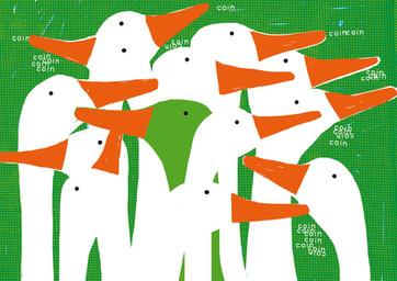 oies migration illustration sérigraphie superposition colors foret