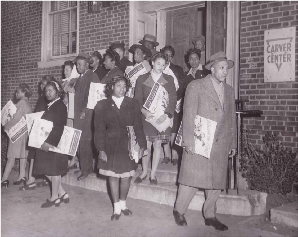 Civil Rights Workers leaving Carver Center (1950s)