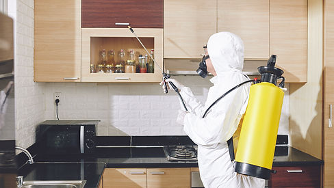 worker-in-hazmat-suit-applying-spray-on-