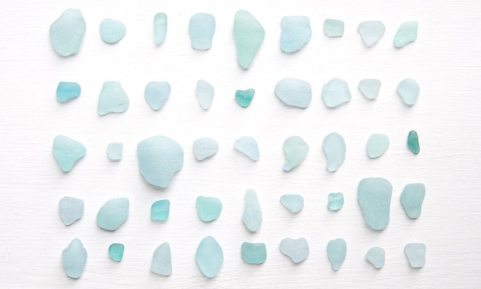 Aqua Sea Glass  Bottle Rim Lips