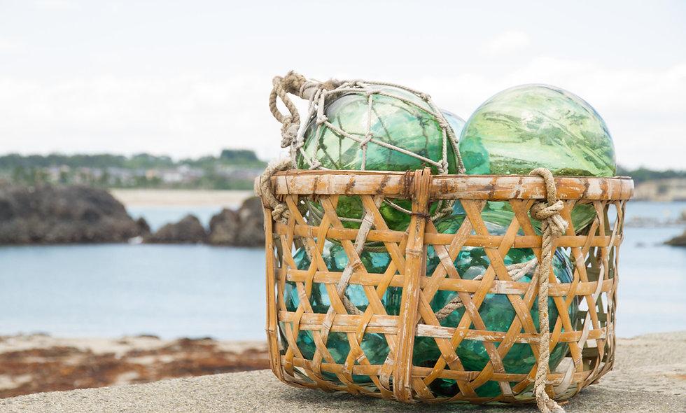 Basket of Glass Fishing Floats Print