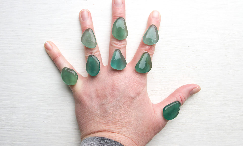 Japanese XL Teal Green sea glass pieces