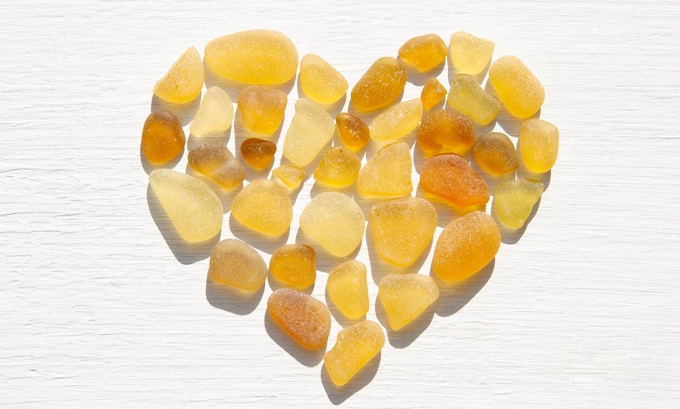 Yellow Sea Glass Heart