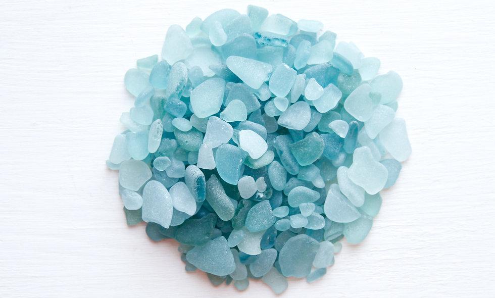 Broken aquamarine sea glass pieces