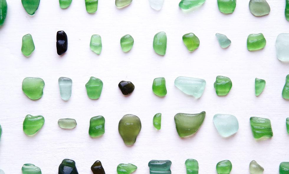 Green Sea Glass  Bottle Rim Lips