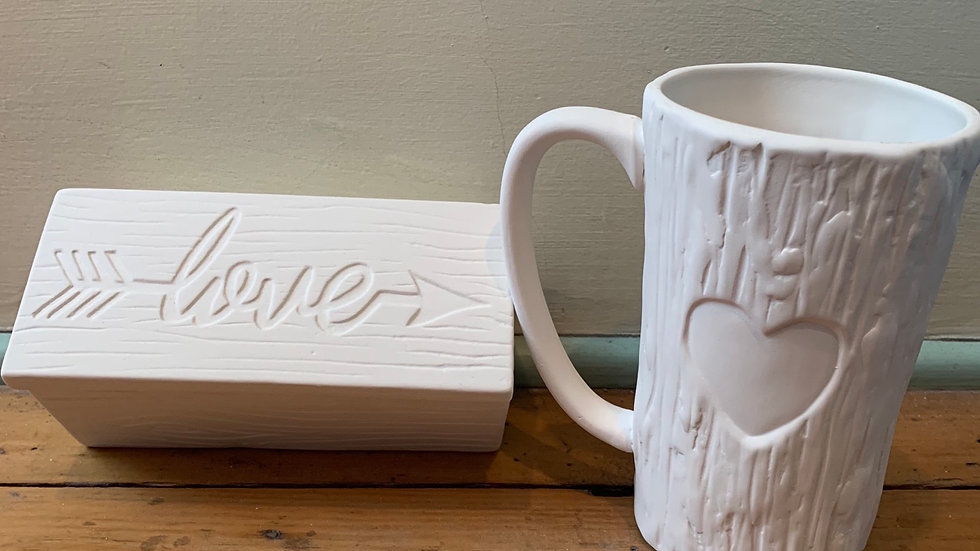 Love box and heart mug