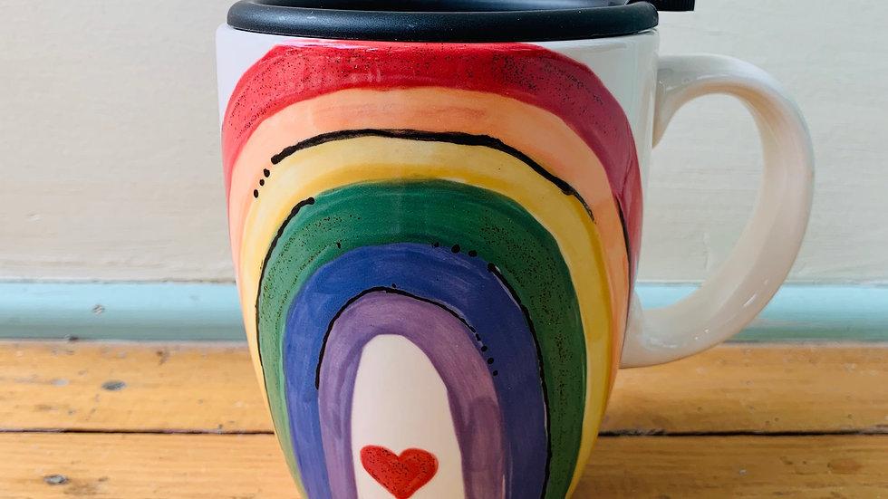 Hand Painted Rainbow Travel Mug