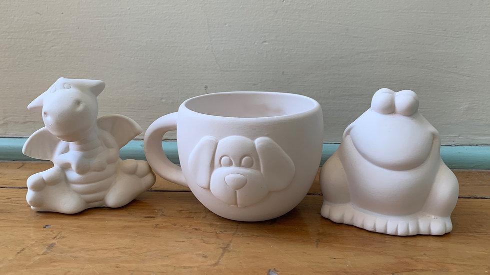 Dog Mug, Dragon Figure, and Frog Figure