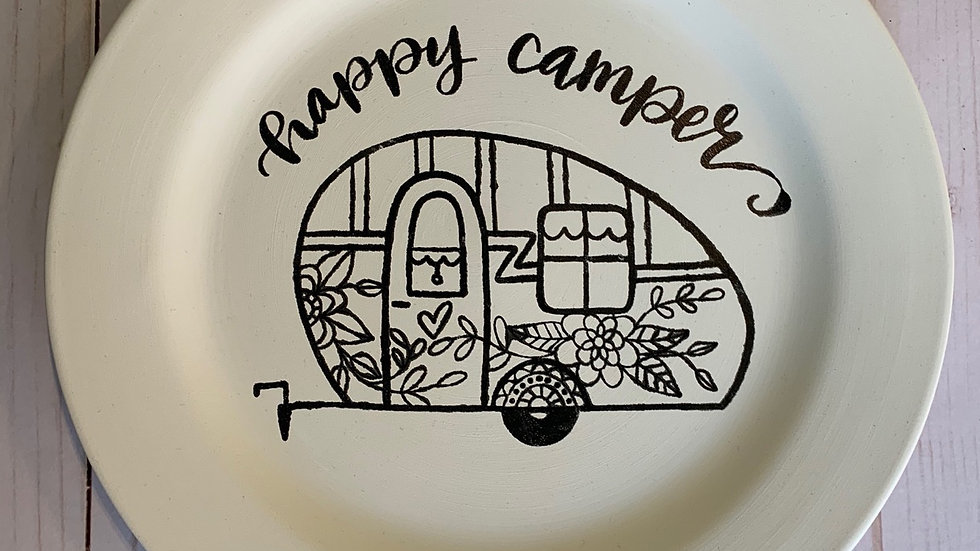 "Coloring Book Plate  ""Happy Camper"""