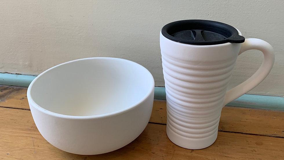 Travel Mug and Cereal Bowl