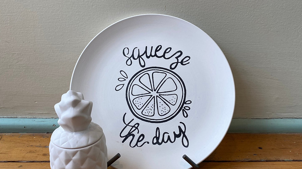 "Coloring Book ""Squeeze the Day"" Plate and Pineapple Box"