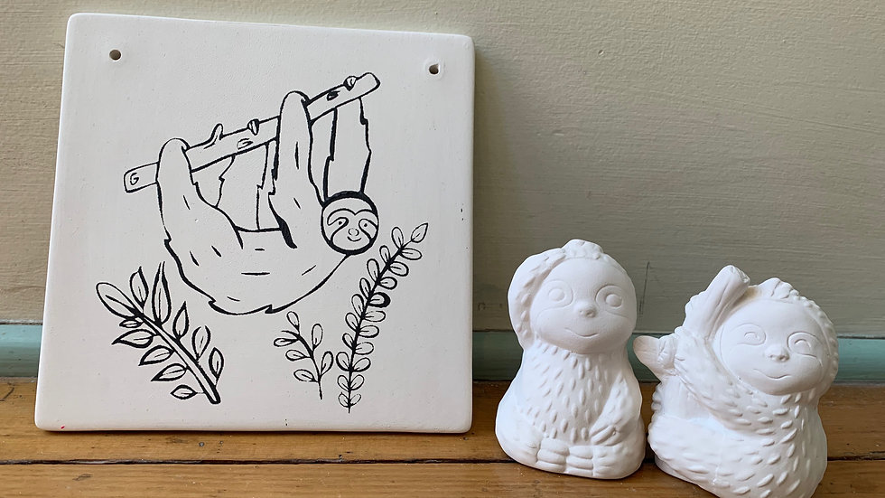 Sloth Coloring Book Tile and Salt and Pepper Shakers