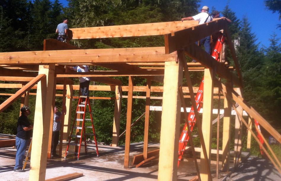 Roof Framers Making Progress