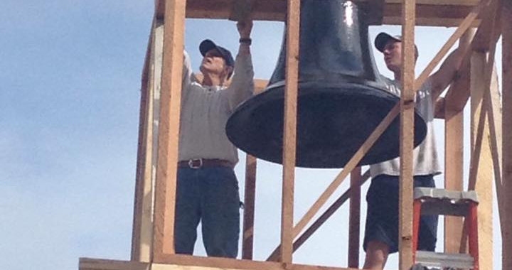 The 1,700 lb Bell is Lifted into Place!
