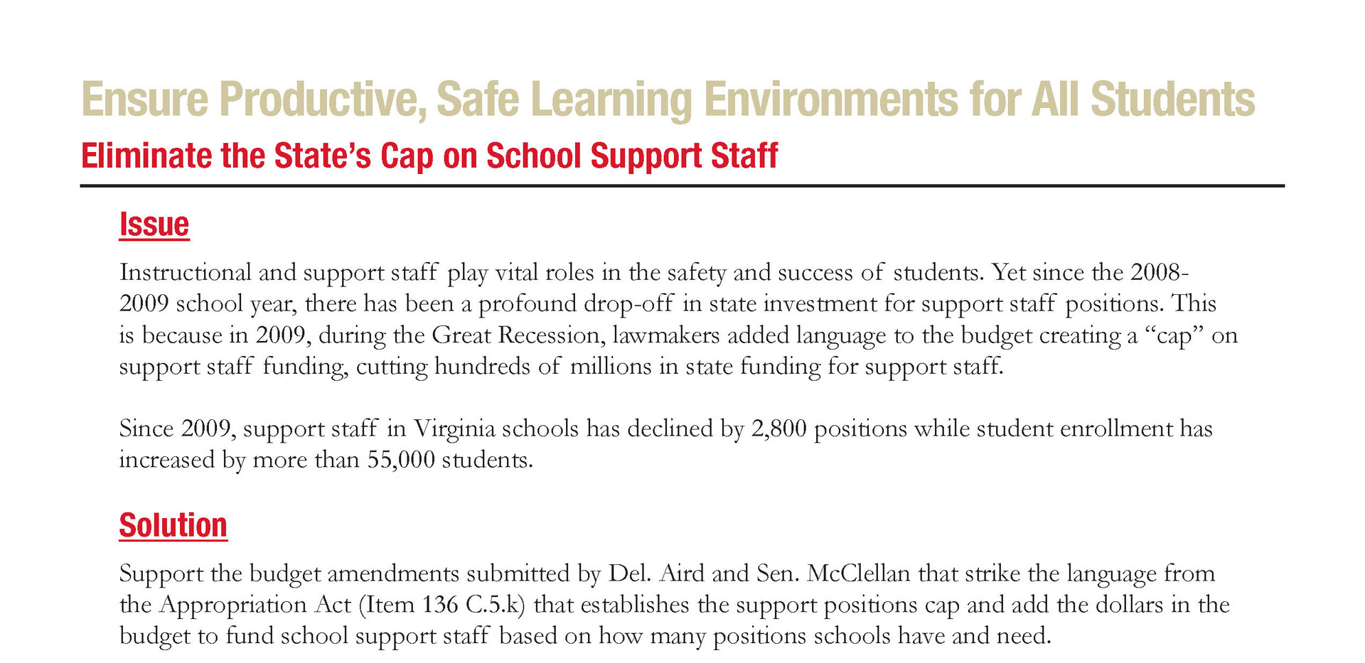 Eliminate the State's Cap on School Support Staff
