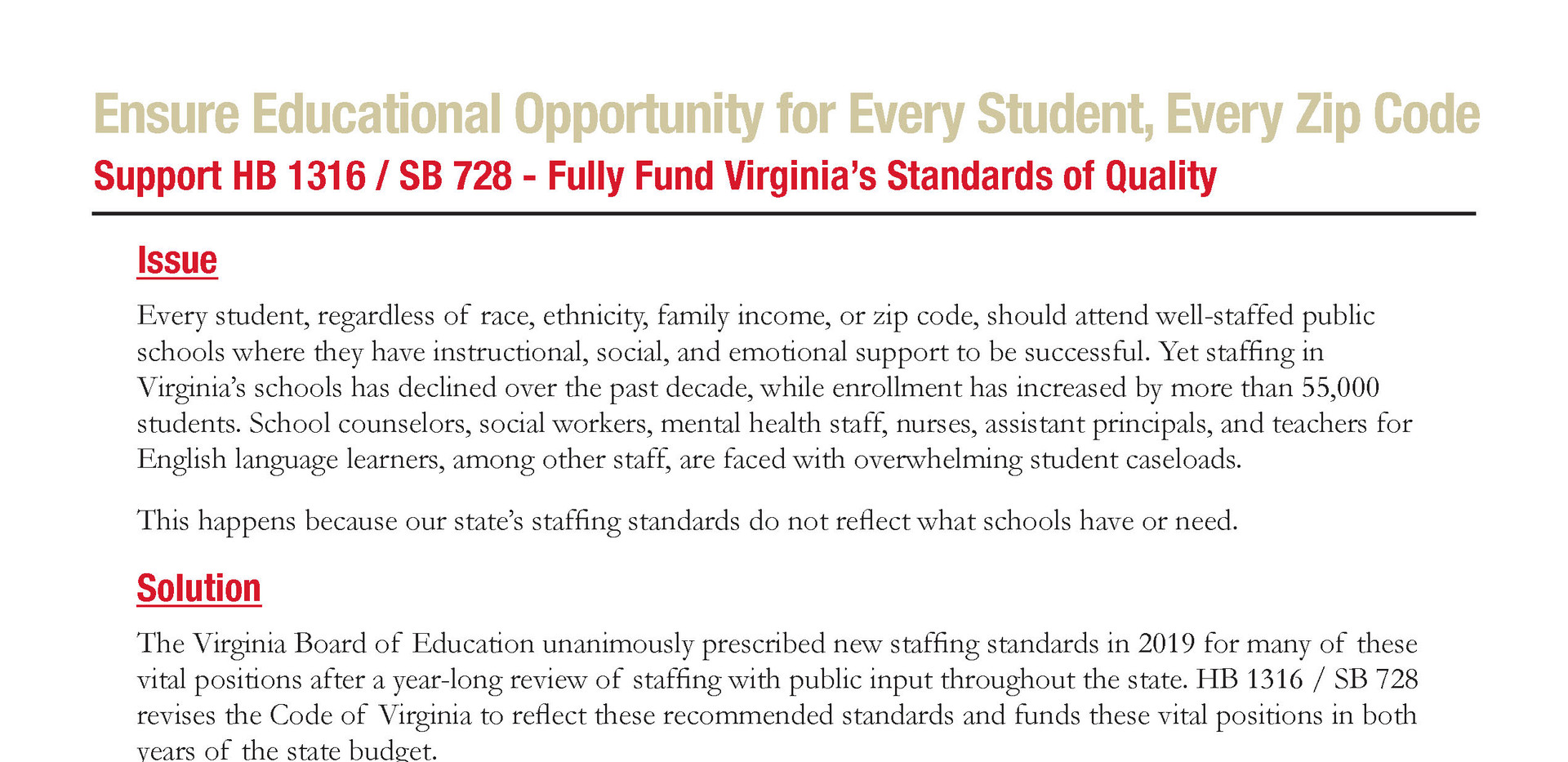 Fully Fund Virginia's Standards of Quality