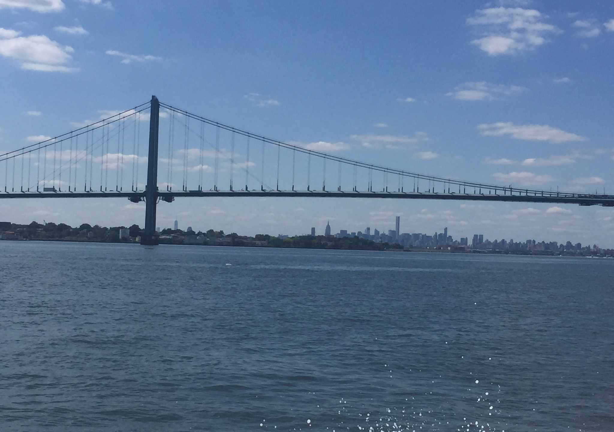 Approaching the Throgs Neck Bridge you can see the city line.
