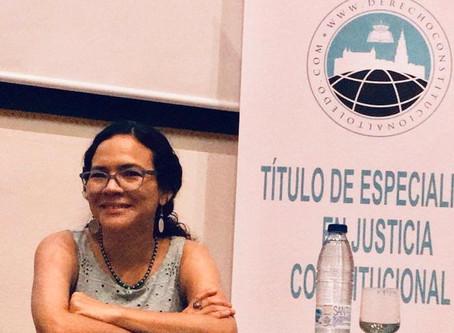 Adriana Rodríguez, catedrática de UASB, expuso sobre la interpretación intercultural en Cortes de EC