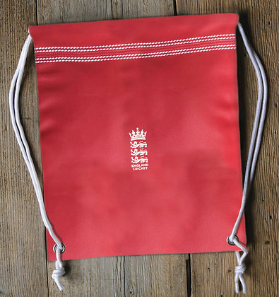 England Cricket Red Drawstring Bag