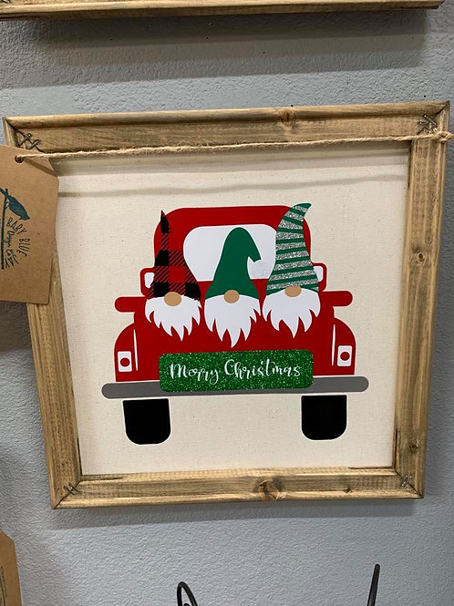 MERRY CHRISTMAS GNOMES red truck canvas sign decor