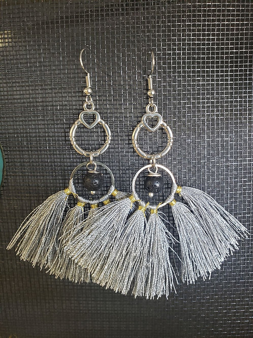 Diffuser Earrings -silver tassels