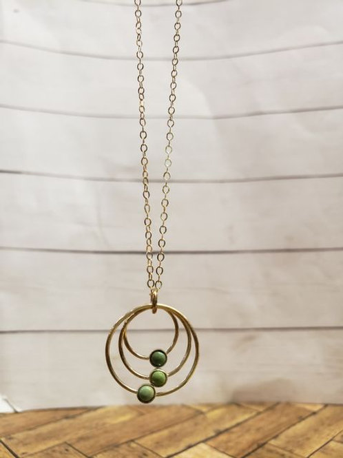 3 green stone circles - sterling silver necklace