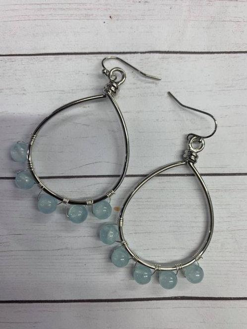 Beaded silver hoop earrings