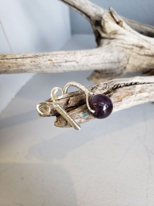 Wire wrapped amethyst bead ring