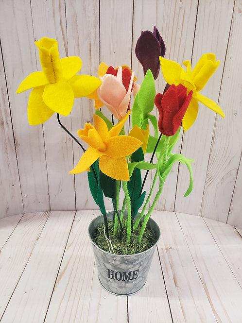 Felt Flower Arrangement - Daffodils and Tulips