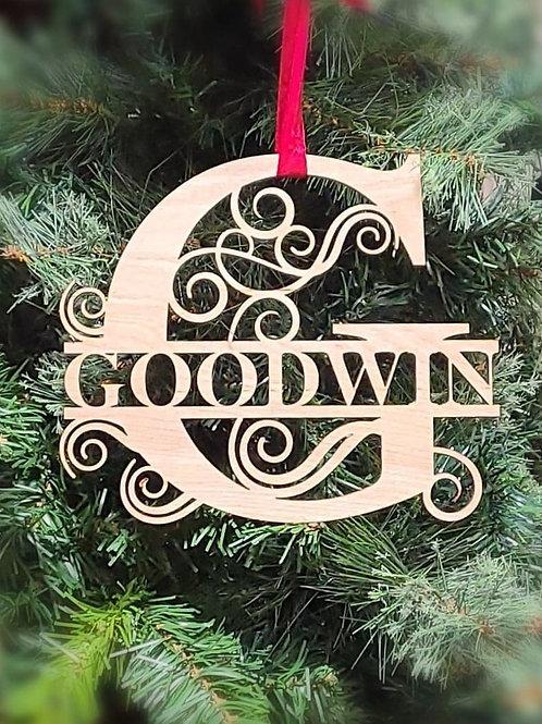 Split Monogram Name Ornament