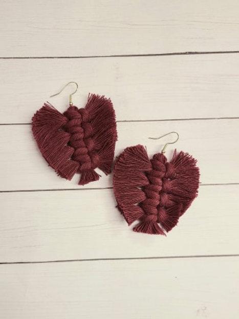 MACRAME Leaf Style Earrings - Burgundy