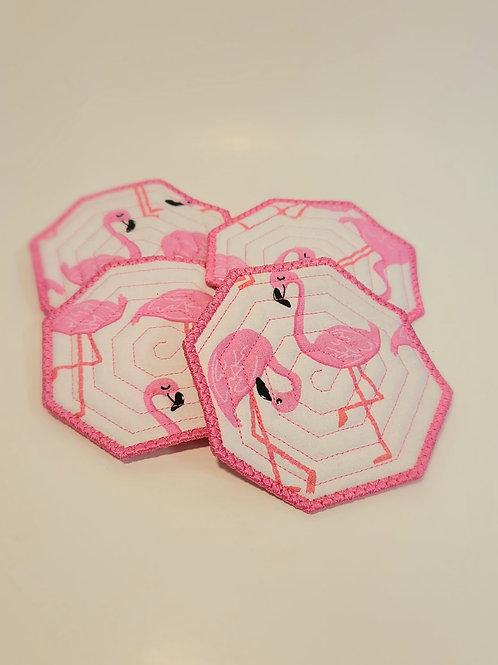 Embroidered Flamingo Coasters