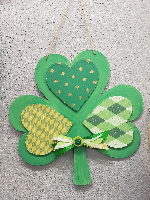 Wood Shamrock Sign with bow