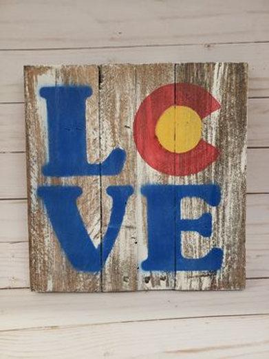 Handmade wood sign Colorado LOVE