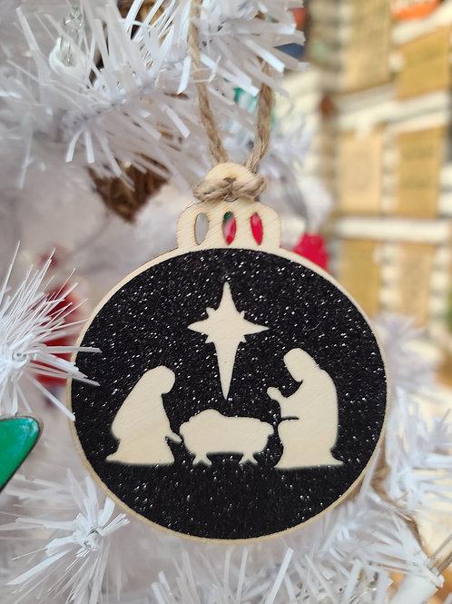 Round Nativity Ornament