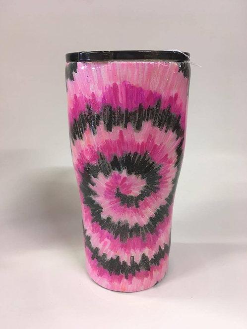 Pink tye-dye resin tumbler