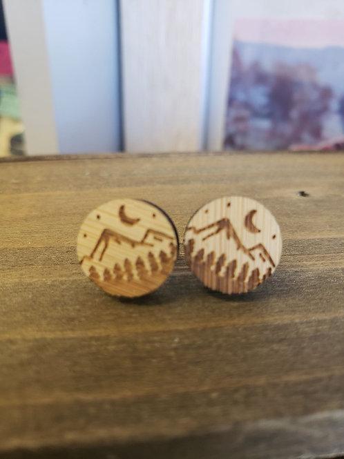 Wood earring studs - mountain scene