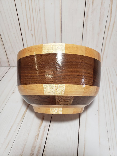 Hand-turned Walnut and Maple wood bowl
