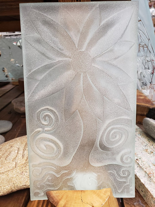 Reverse etched glass - Flower Tree