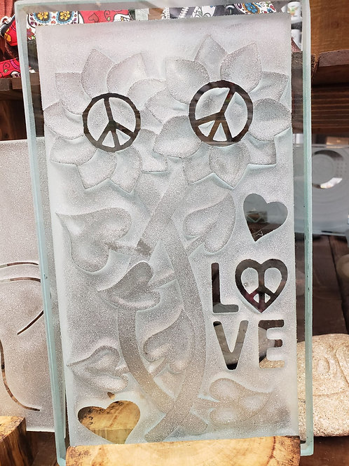 Reverse etched glass - Peace and Love