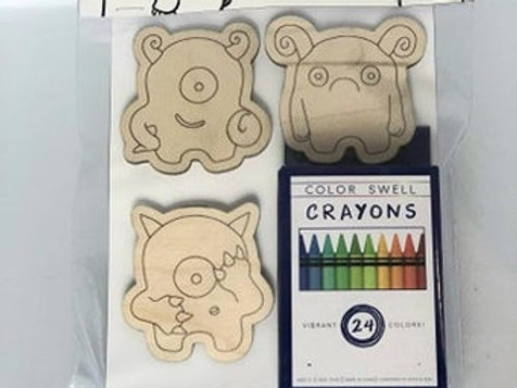 Timid Monster Coloring Magnets