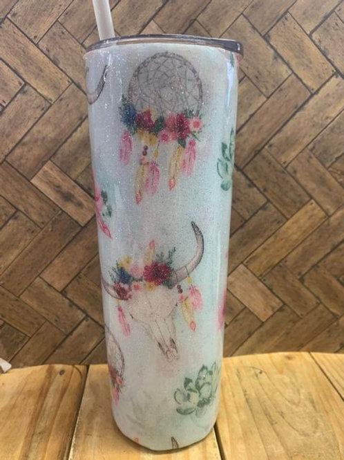 20oz Resin Tumbler - Floral Bull