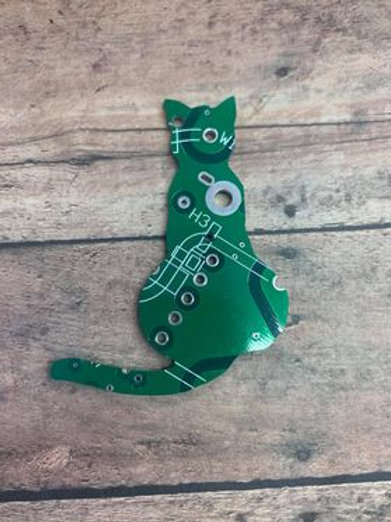 Recycled circuit board magnet -cat
