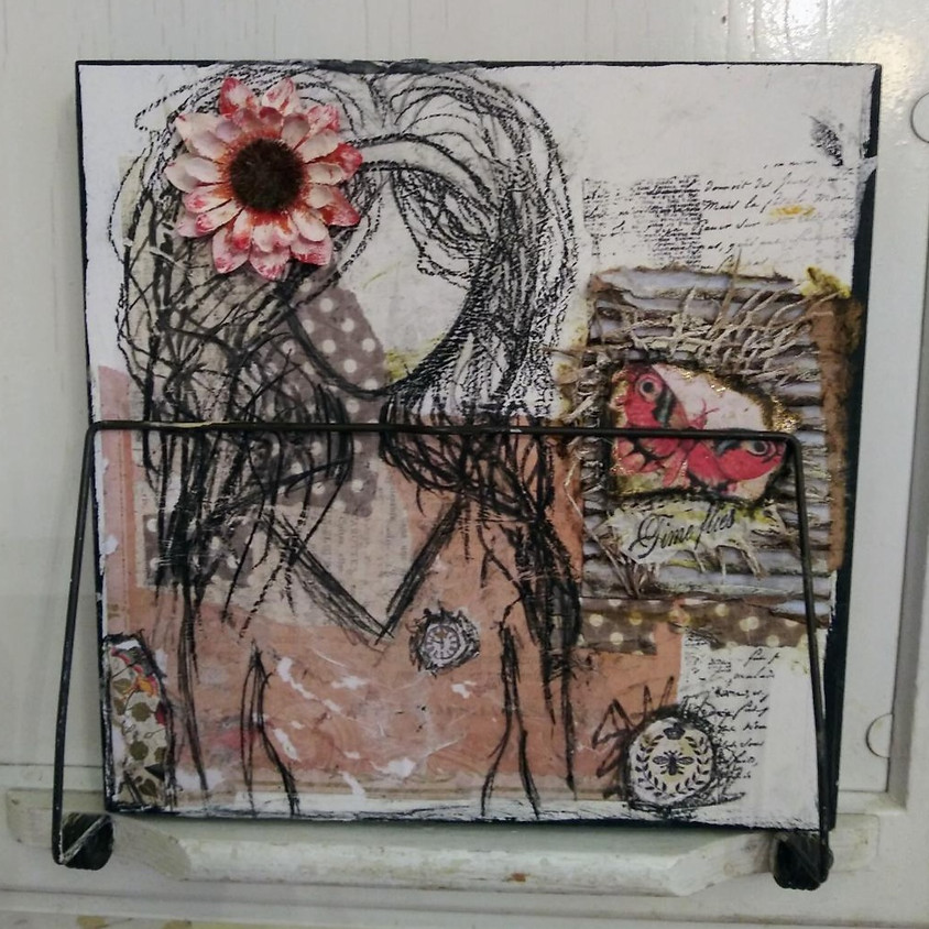 """""""THE TIME FLIES GIRL"""" Mixed media Canvas Class"""