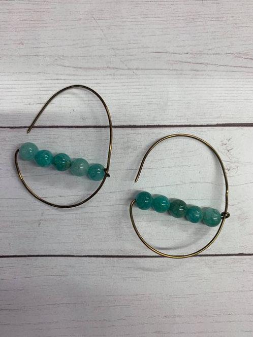 Handmade wire and bead hoop earrings