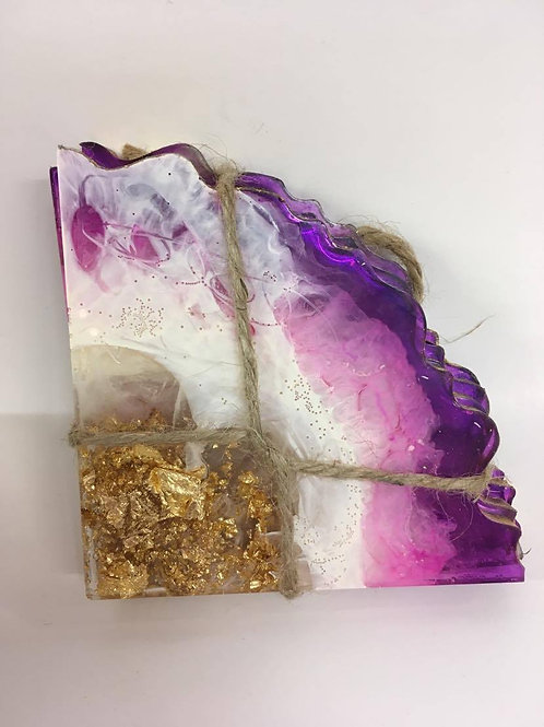 Purple and Gold Geode Resin Coasters