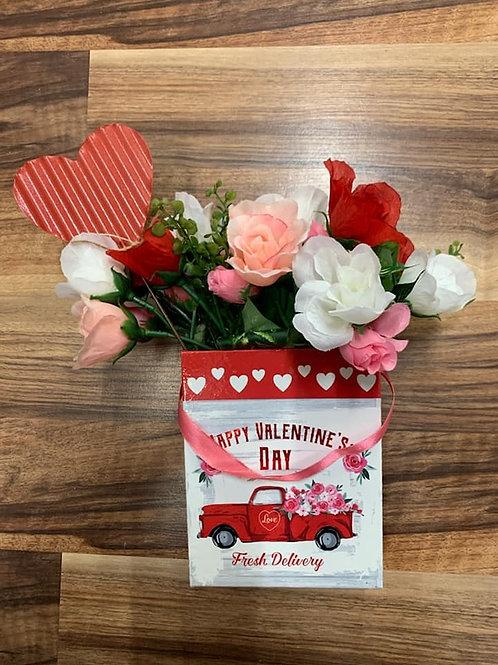 Valentine's Day Red Truck Flower Vase