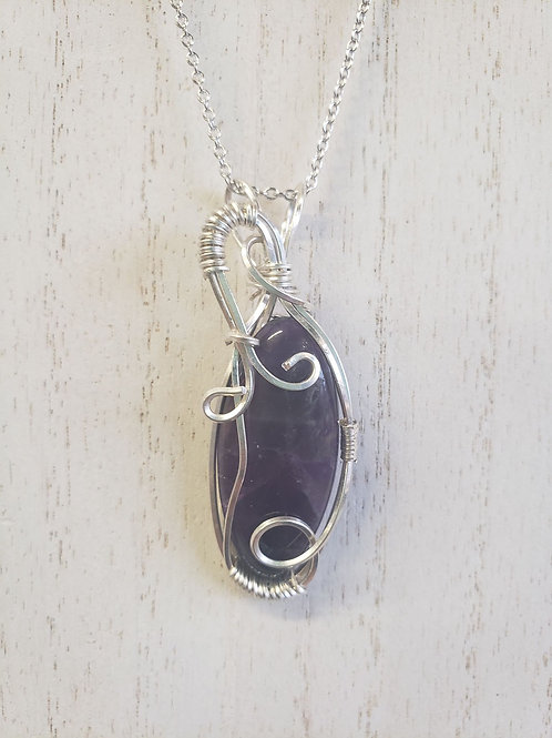Sterling Silver Amethyst Hand-wrapped wire necklace