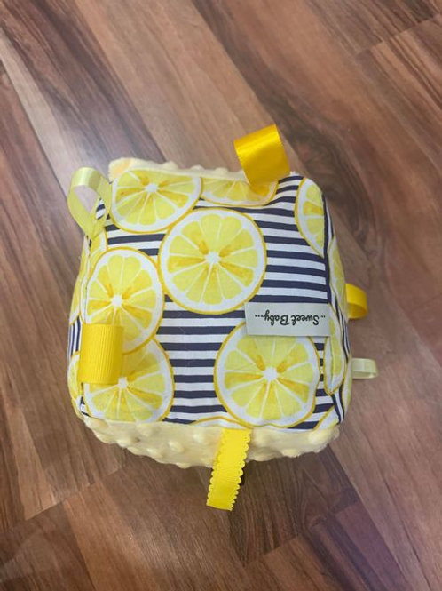 Handmade soft fabric baby play block - lemon print