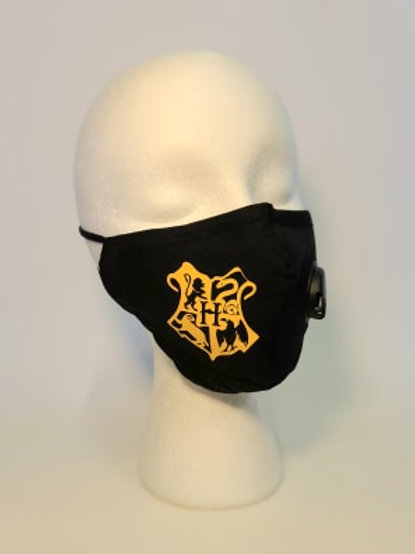 HP Crest FACE MASK with Valve-Black with yellow
